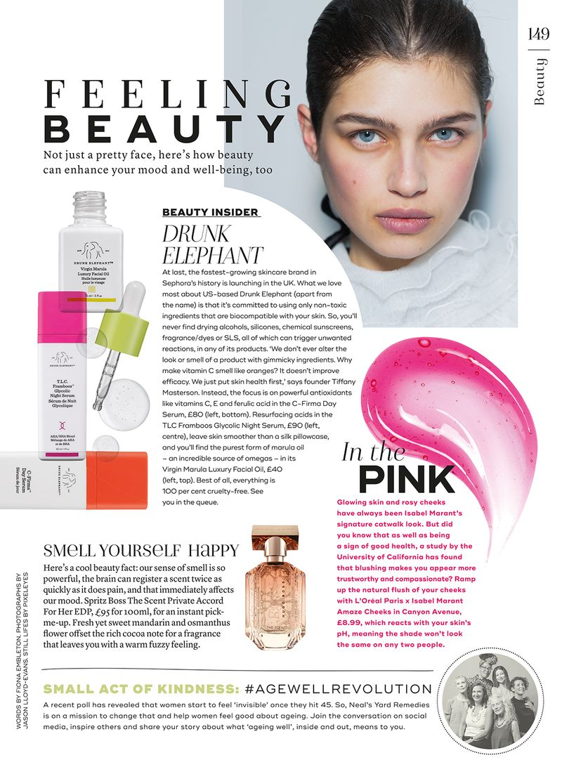 Feeling Beauty regular for Marie Claire UK Nov 2018