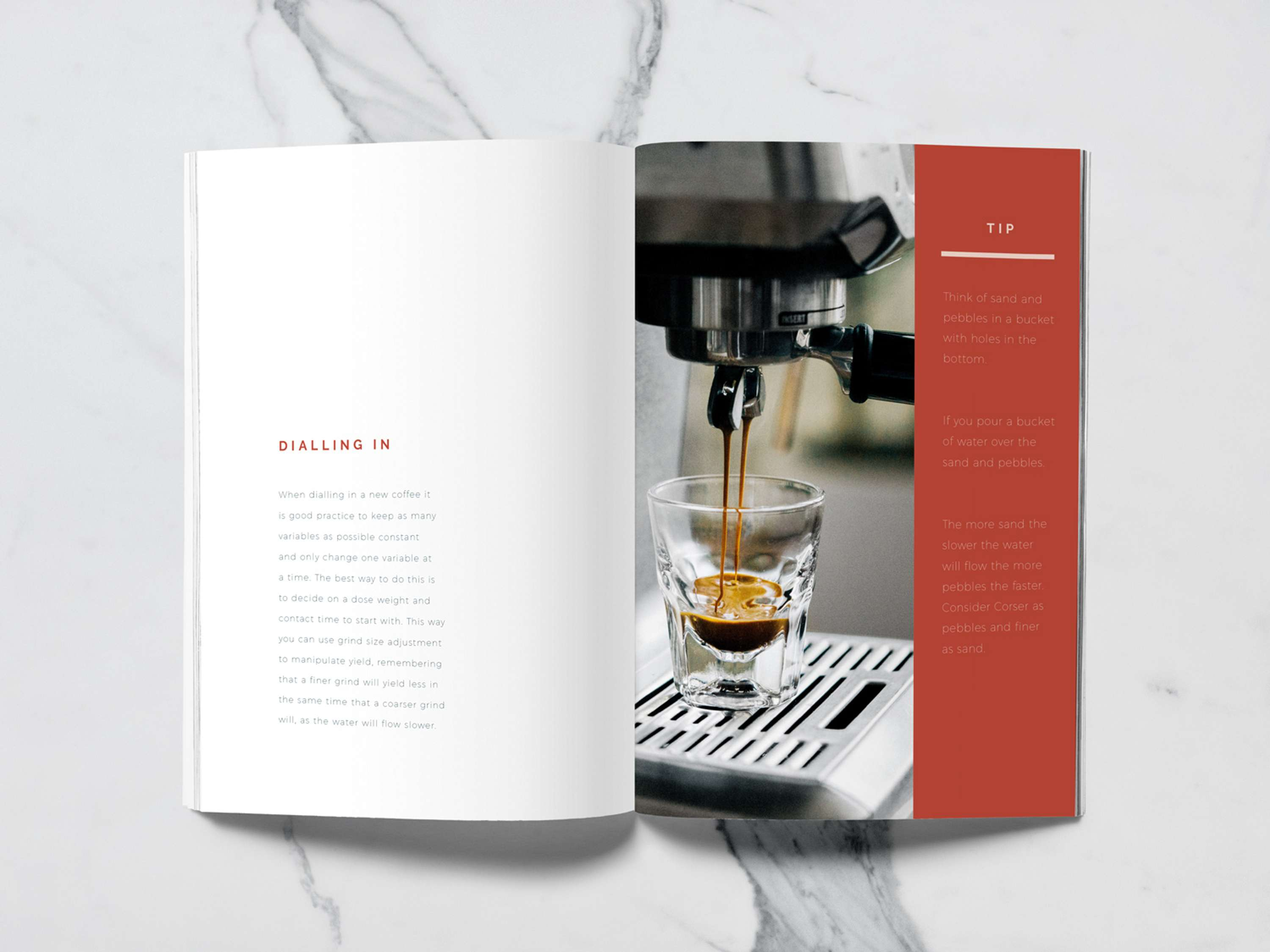 a book designed for a barista training manual
