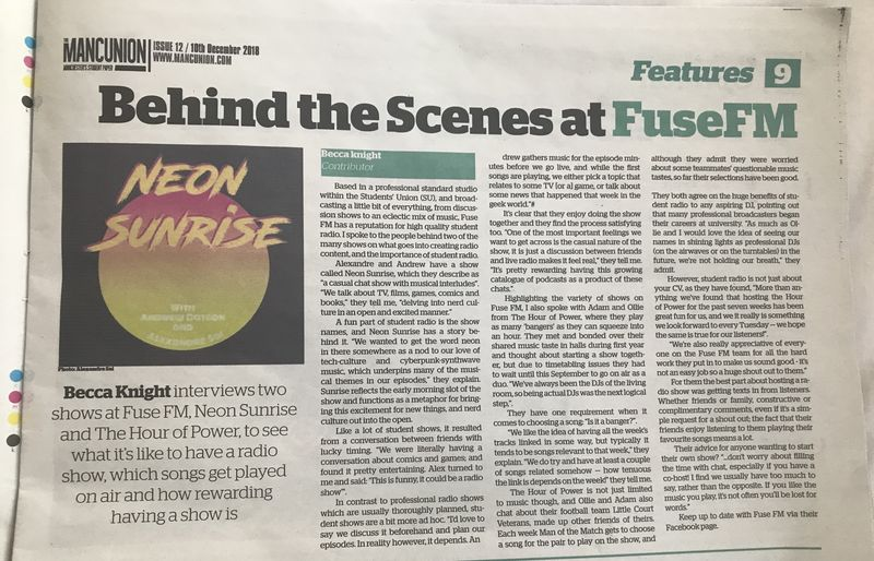 Behind the scenes at Fuse FM article