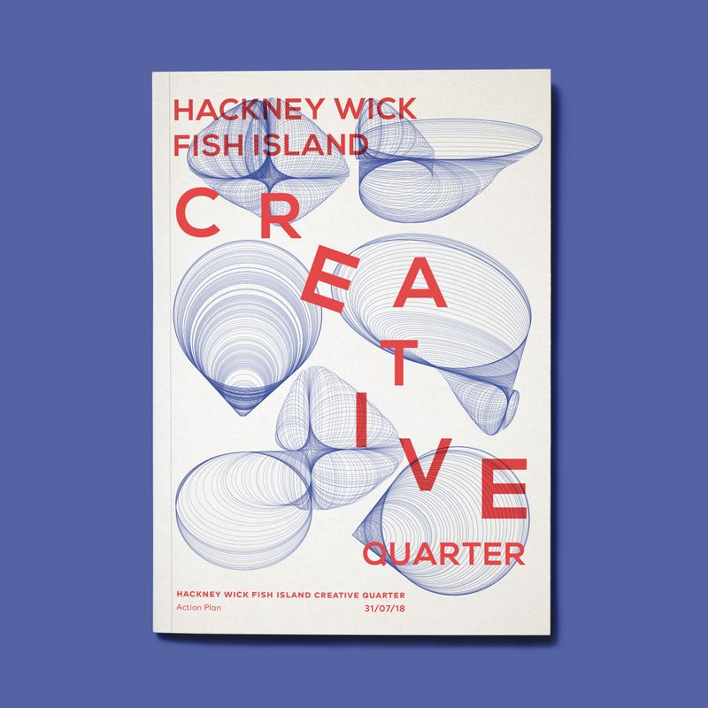 HeyBigMan! designs  the front cover for the official Creative Enterprise Zone application document for Hackney Wick and Fish Island