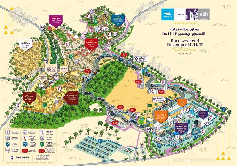 2018 Saudia Ad Diriyah E-Prix Event Map Illustration