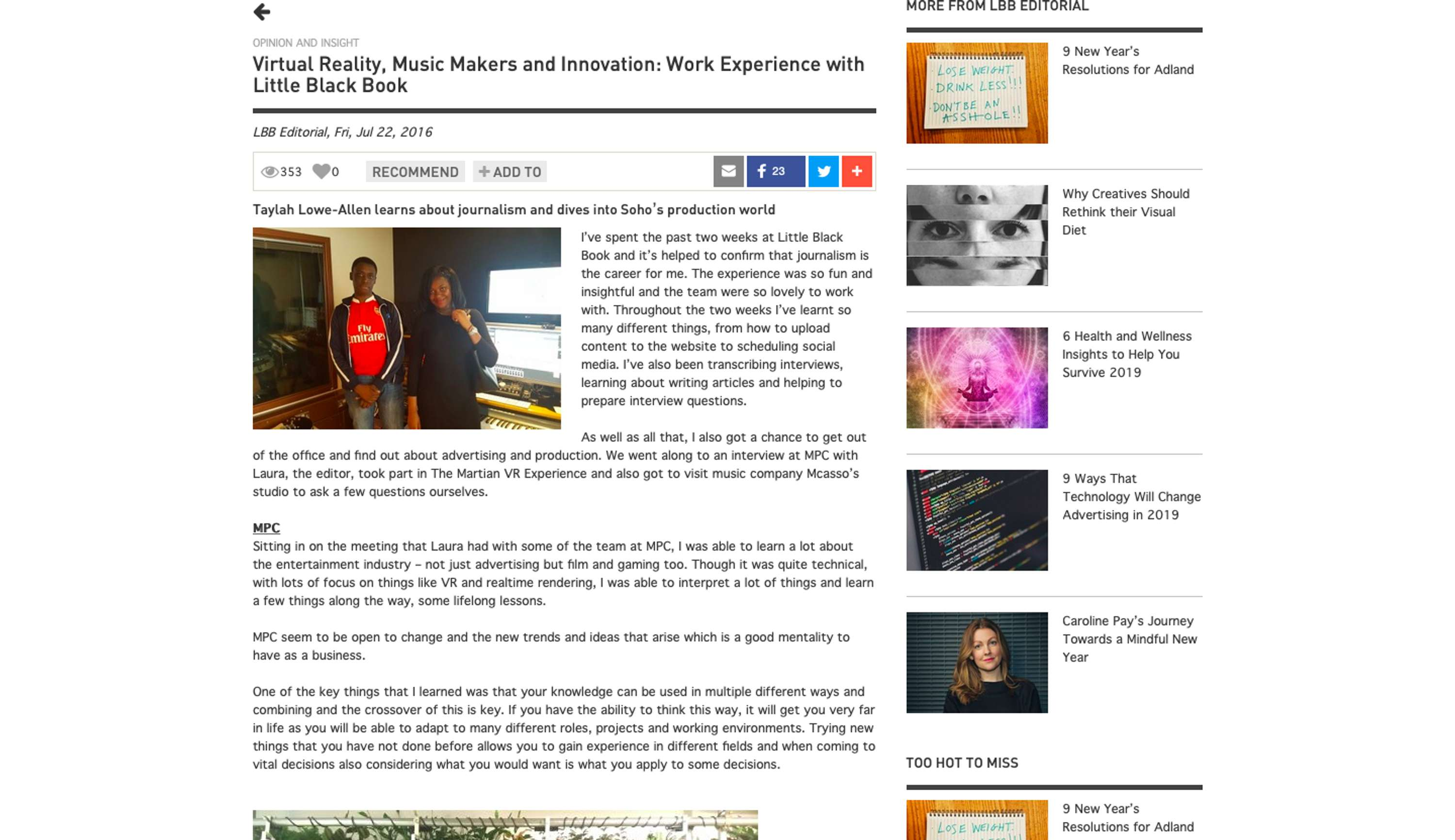 Virtual Reality, Music Makers and Innovation: Work