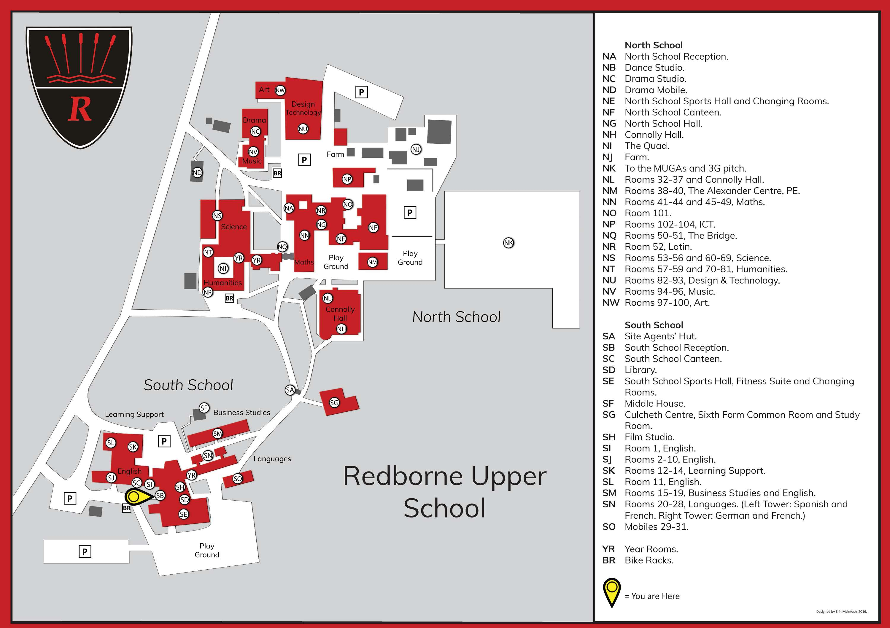 The New School Campus Map.Redborne Upper School Campus Map And Signage Design The Dots