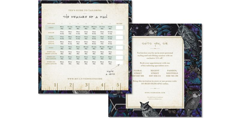 Ted Baker Direct Mail Letter, Booklet and Invitation