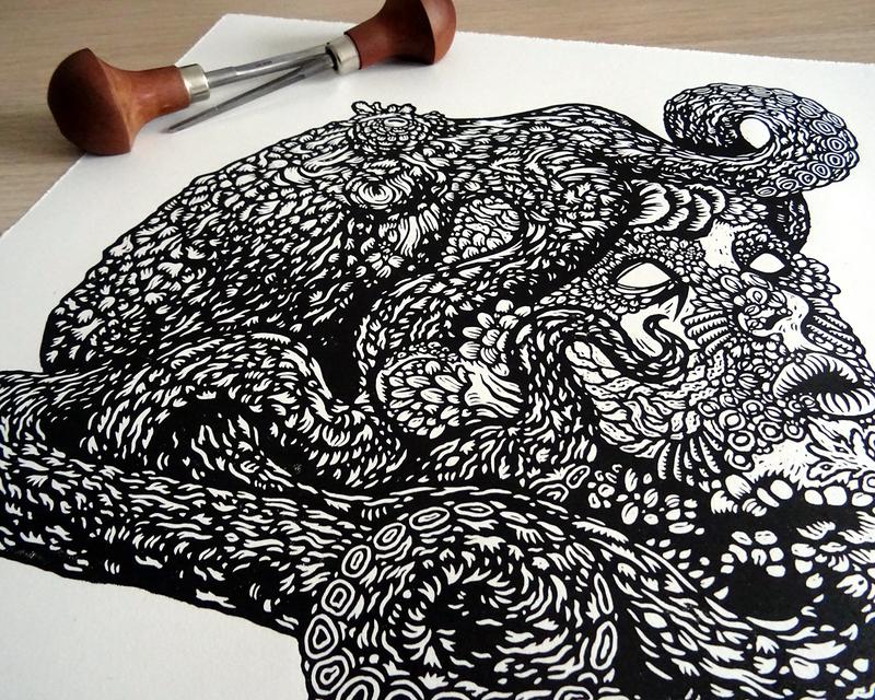 'The Deep' Linocut