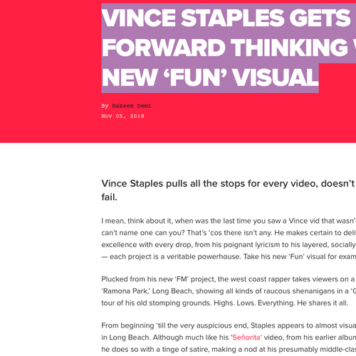 VINCE STAPLES GETS FORWARD THINKING WITH NEW 'FUN' VISUAL