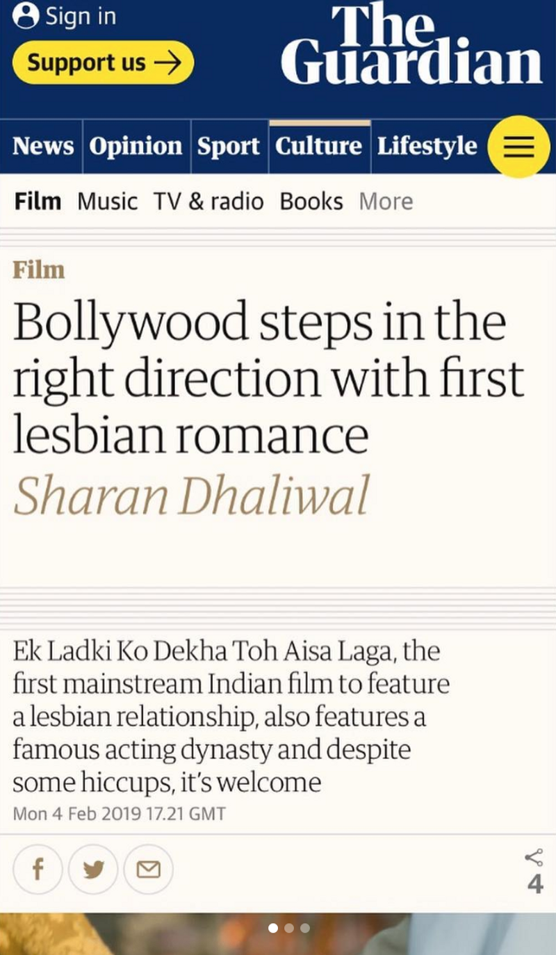 Guardian - First big blockbuster Bollywood romance that centres a lesbian romance