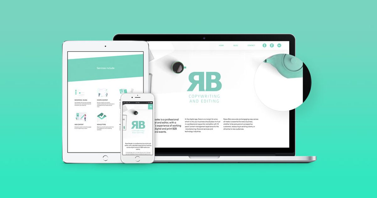 Responsive web design for RB Copywriting and editing | The Dots