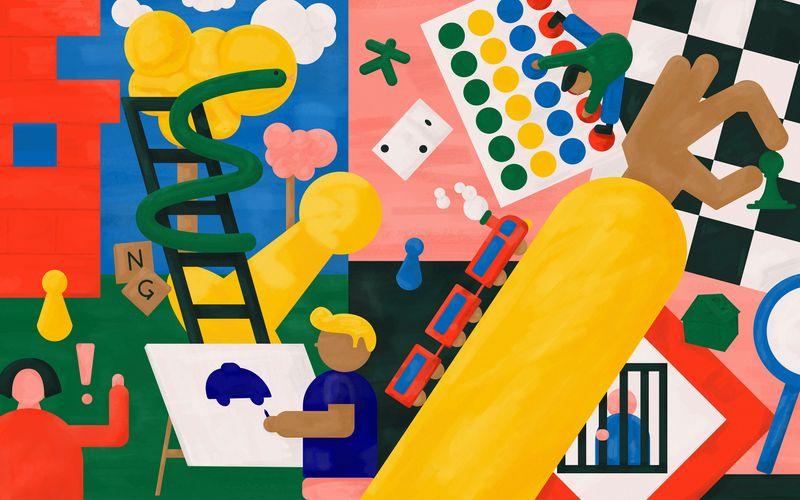 """Playing"" Illustration and free desktop wallpaper"