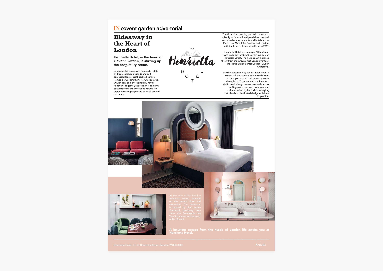 Advertorial Design Henrietta Hotel In Covent Garden Magazine