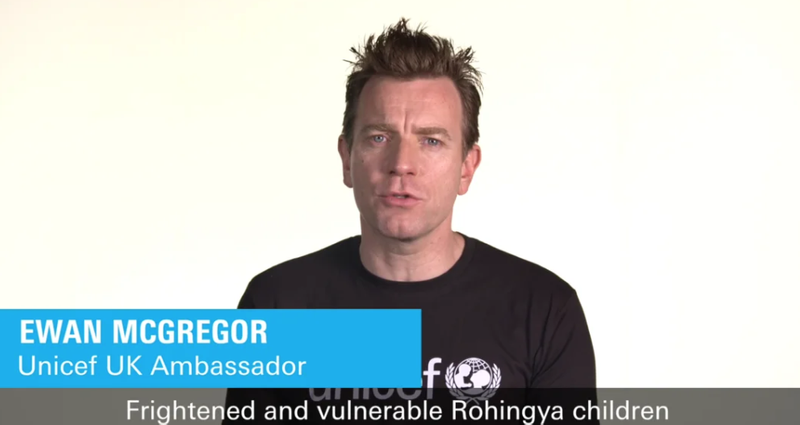 UNICEF Rohingya Children - Donate Now campaign with Ewan McGregor