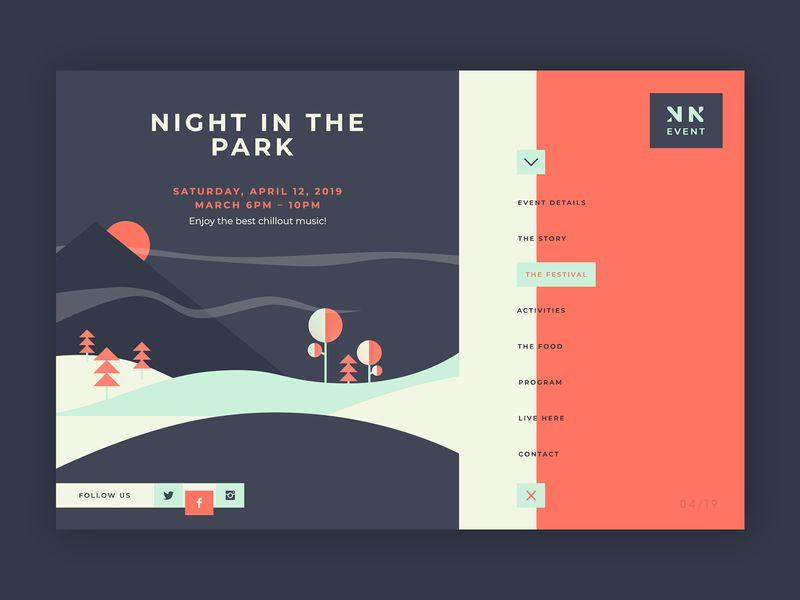 Night in the Park Event ➥ Web Design