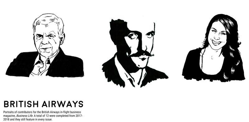 Portrait Illustrations for British Airways' Business Life magazine
