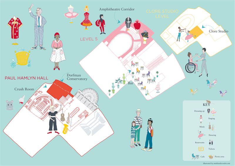 Royal Opera House wayfinding map and illustrations