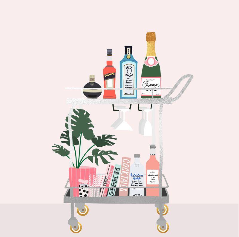 Bar cart Illustration