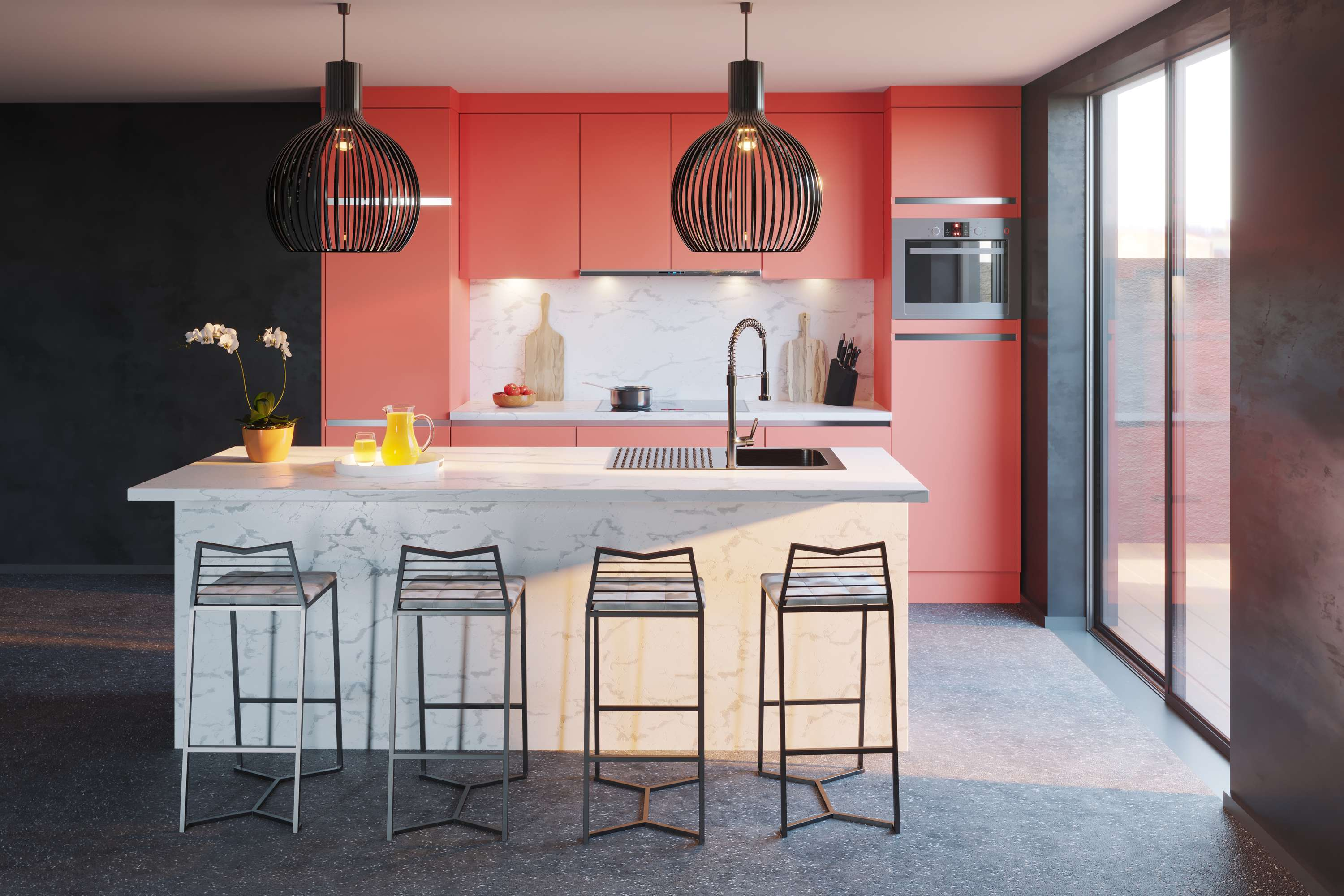 Interior Kitchen - Living Coral   The Dots