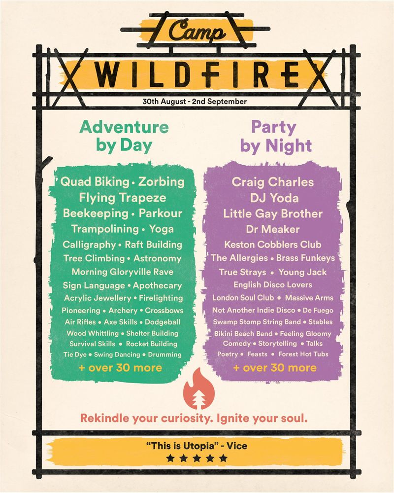 Camp Wildfire 2019 Lineup Announcement Poster