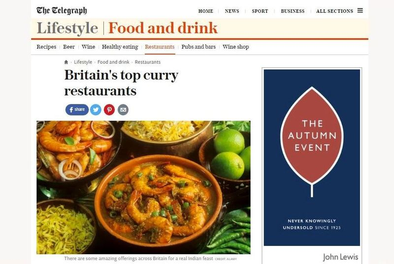 Britain's Top Curry Restaurants feature for The Telegraph