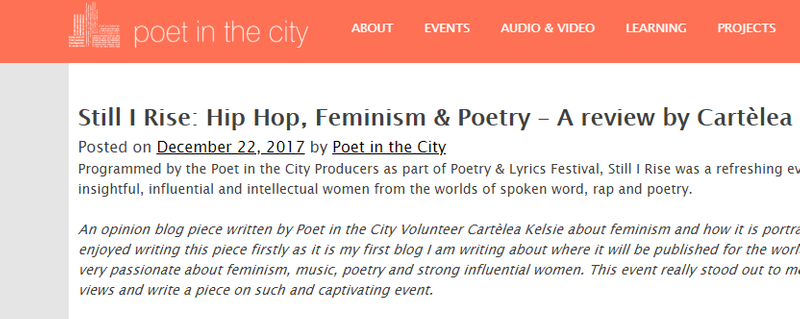 Poetry and Lyrics Festival - Still I Rise blog review written by Cartèlea