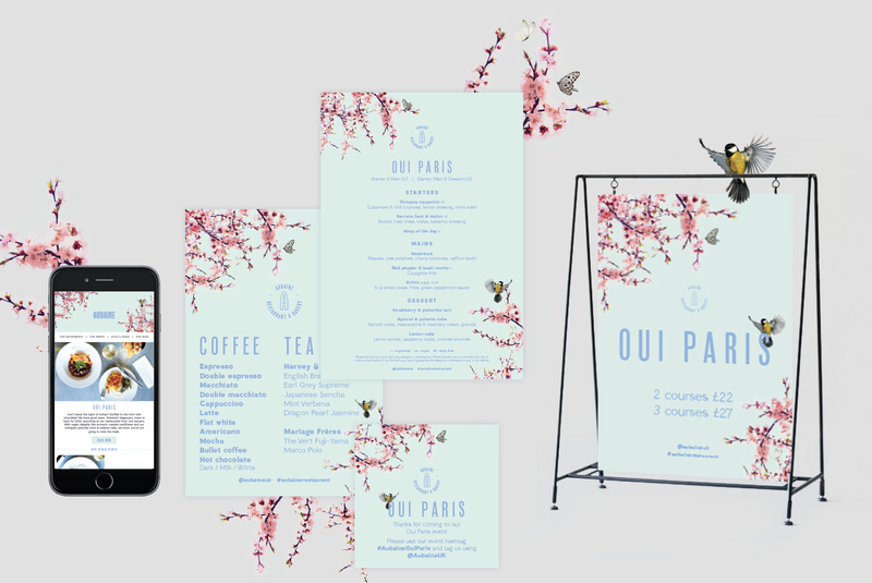 Aubaine restaurant Spring campaign