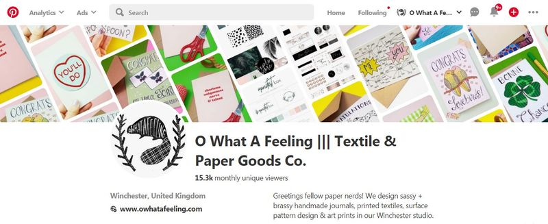 Online Marketing for O What A Feeling: Textile & Paper Goods Co.