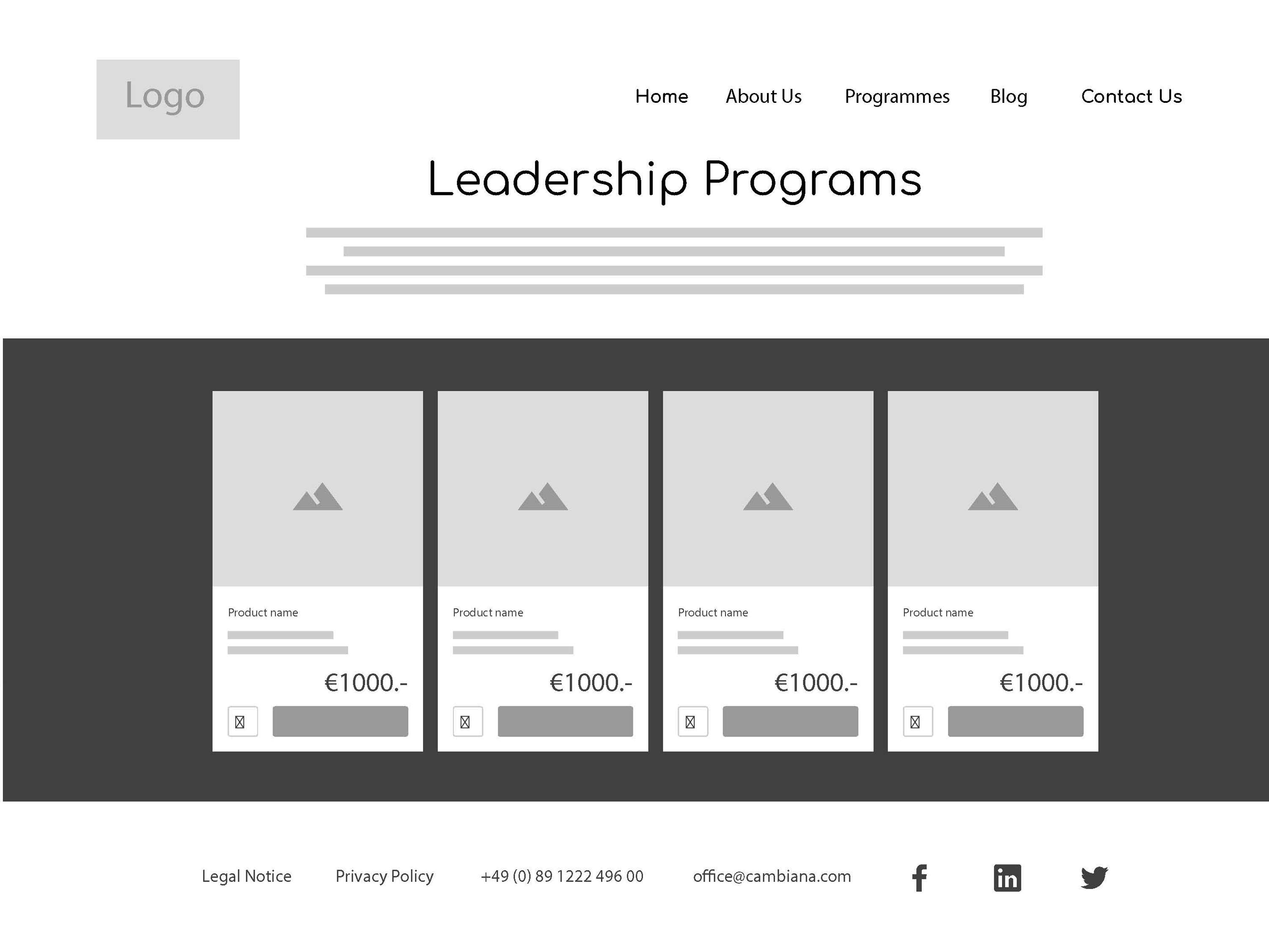 Cambiana Website Wireframes | The Dots