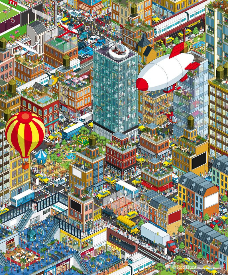 Expansive Cityscape Advertising Campaign Illustration