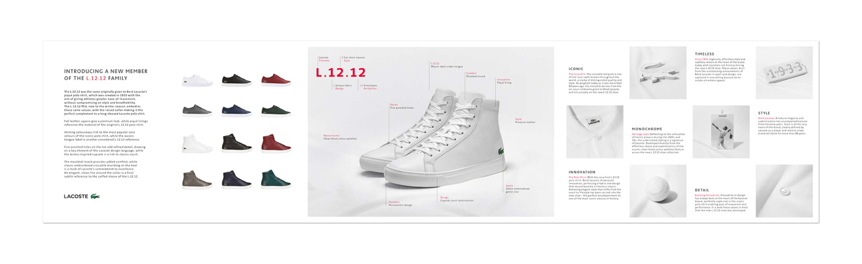 9e16b86e60565c A campaign to launch the 2016 Lacoste L.12.12 Mid Shoe design. The spirit  of the L.12.12 polo shirt in a footwear collection.