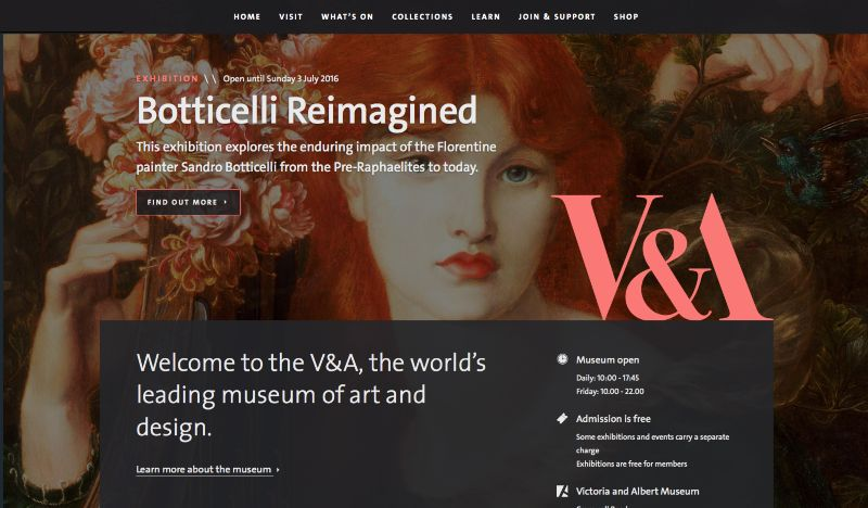 The new V&A website