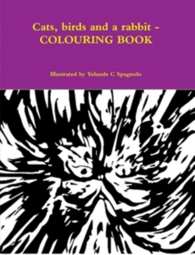 Cats, birds and a rabbit: Colouring Book