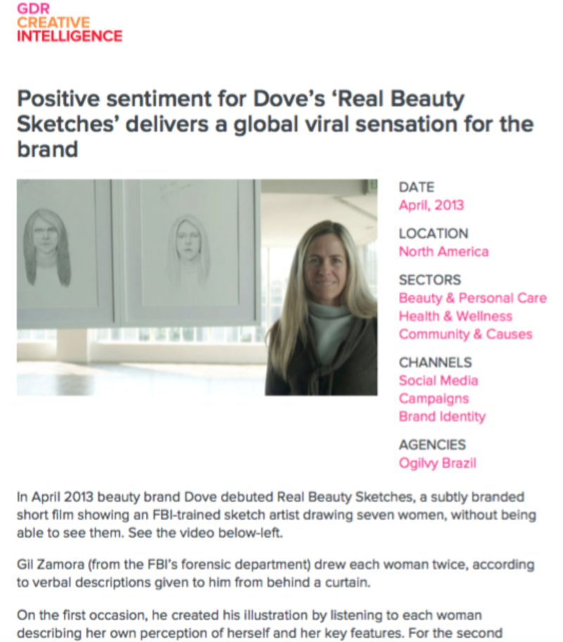 Dove, GDR Creative Intelligence