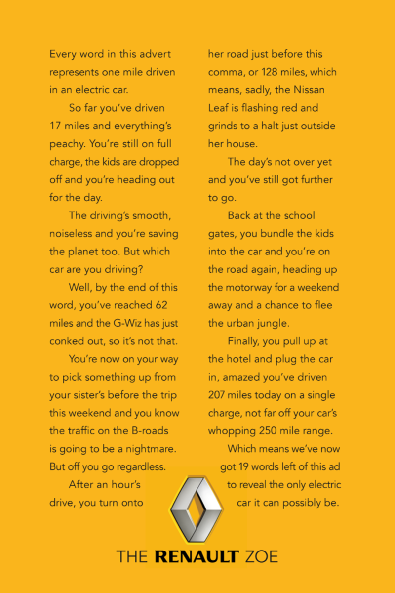 Renault Long Copy Advertisement