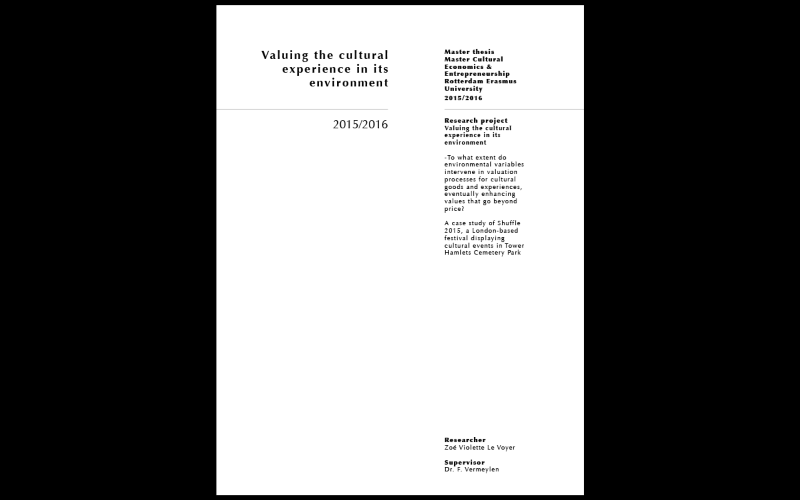 Research project 2 - Valuing the cultural experience in its environment