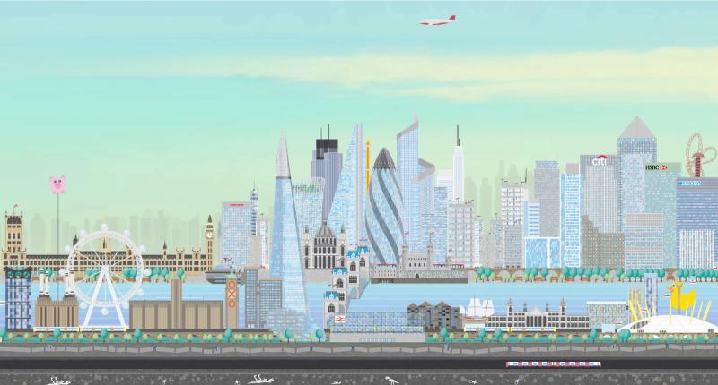 London vector landscape illustration and Adobe Edge Animate illustration