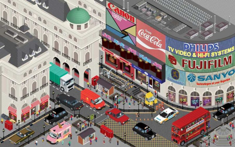 Isometric vector illustration of Piccadilly Circus London