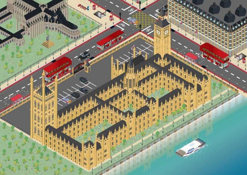 Isometric Westminster London vector illustration