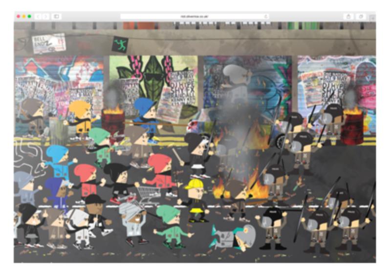 London Riot vector illustration and Adobe Edge Animate interactive web animation