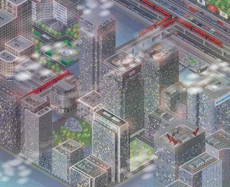 Canary Wharf London isometric vector illustration