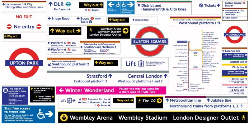 Signage and wayfinding schemes and artwork for Transport for London (London Underground)