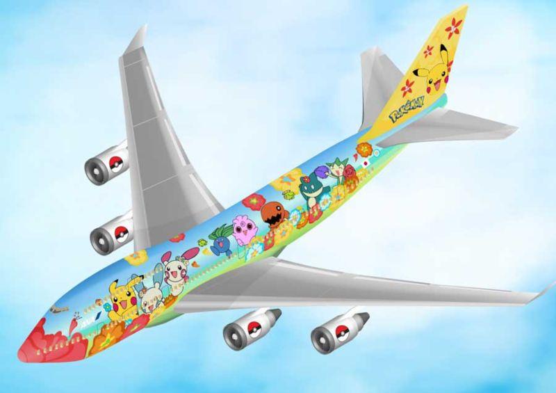 Isometric ANA Pokemon Boeing 747 airplane
