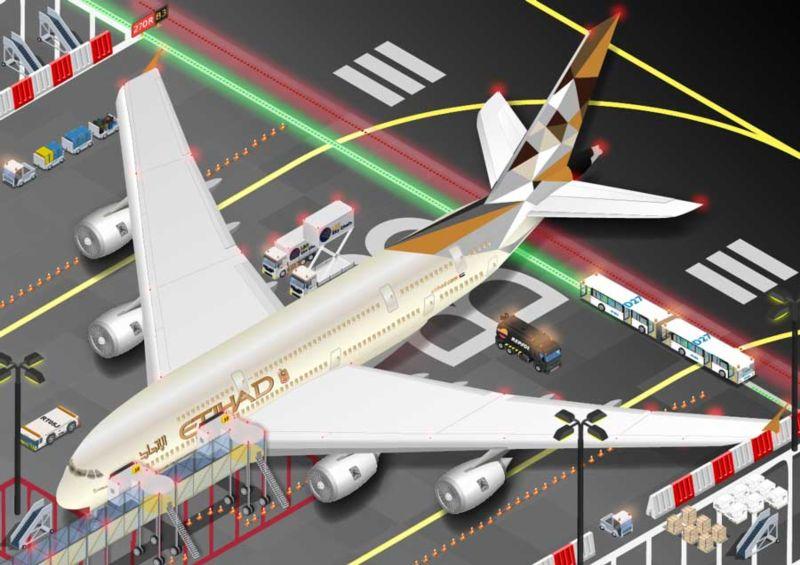 Isometric Etihad Airbus A380 airplane vector