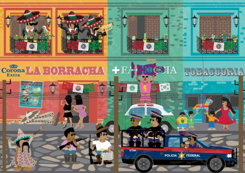 Satirical vector illustration of Mexican village