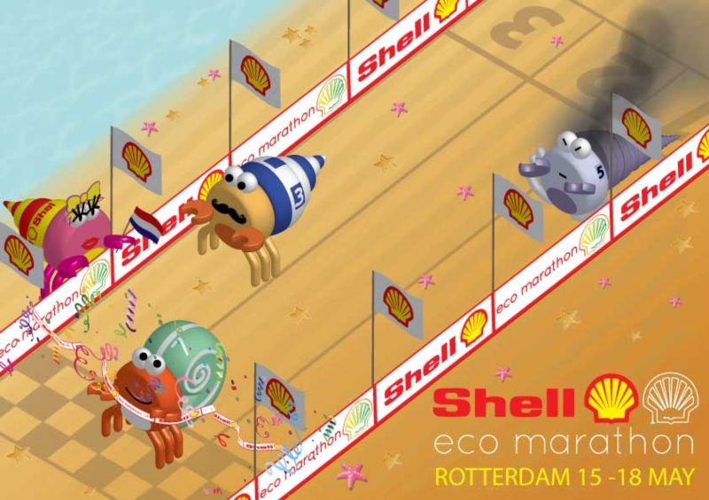 Shell Eco Marathon isometric illustration vector