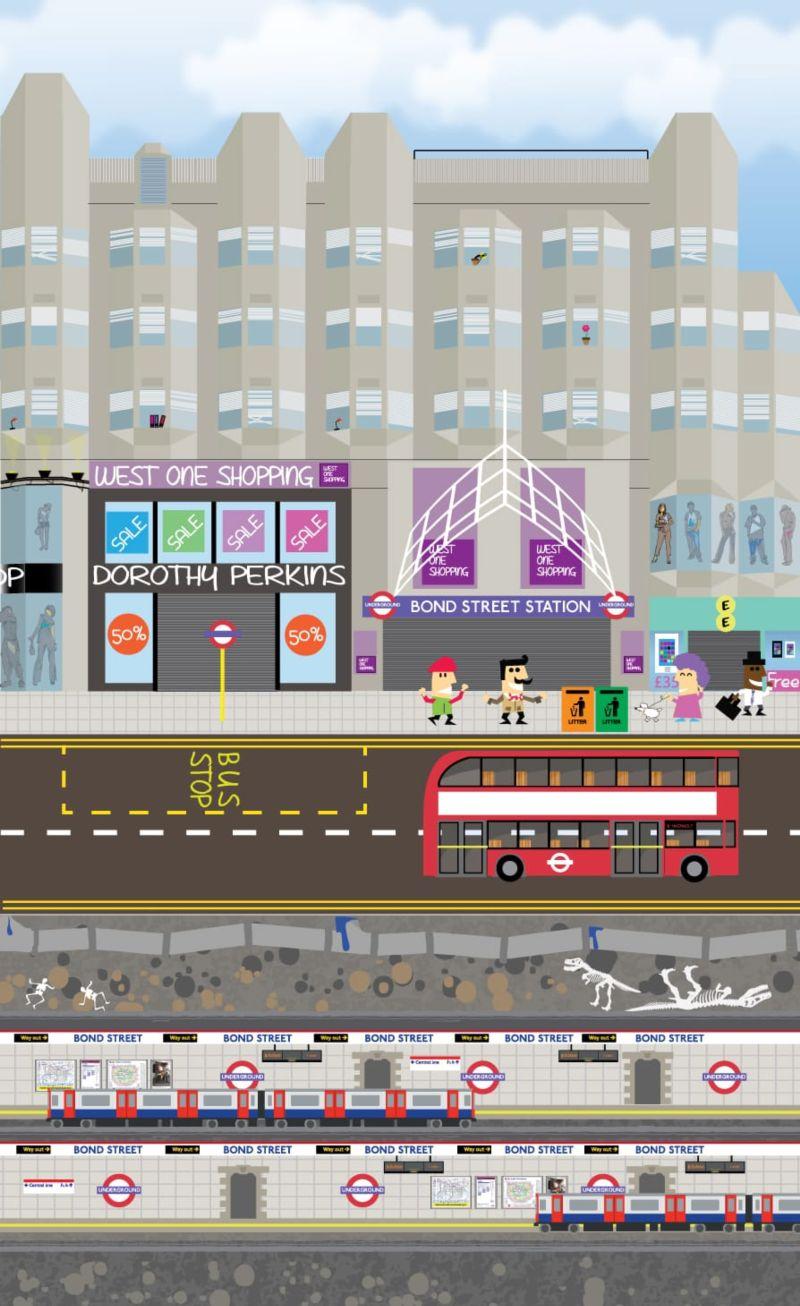 Bond Street London flat vector illustration