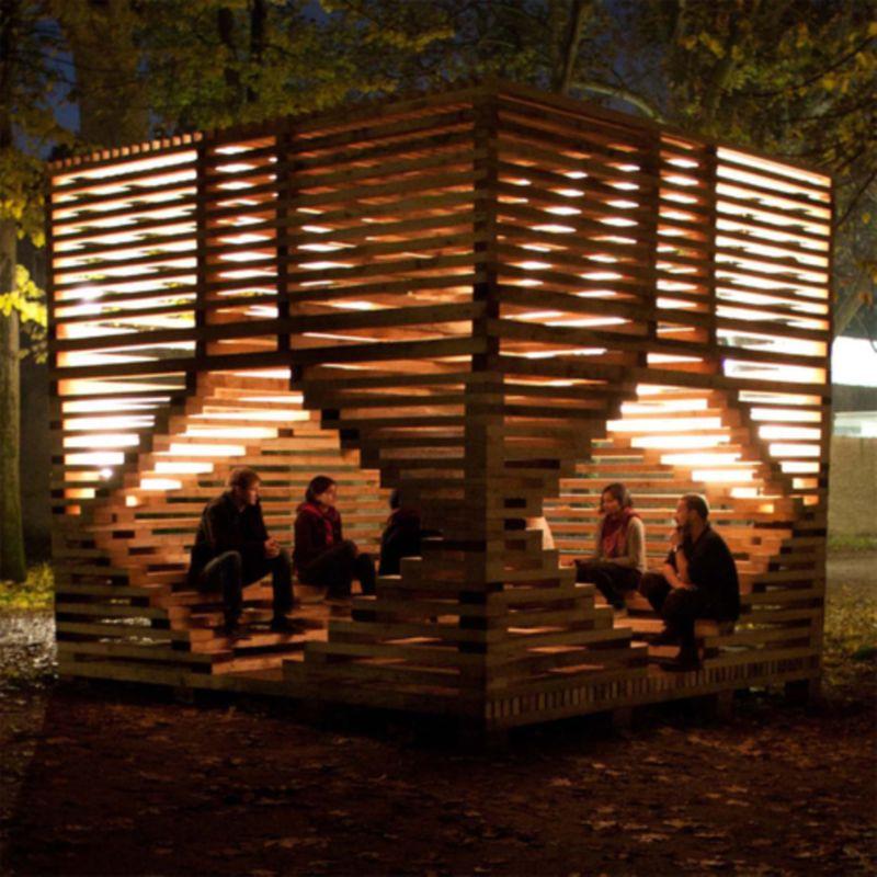 MILU installation: semi-enclosed fire place