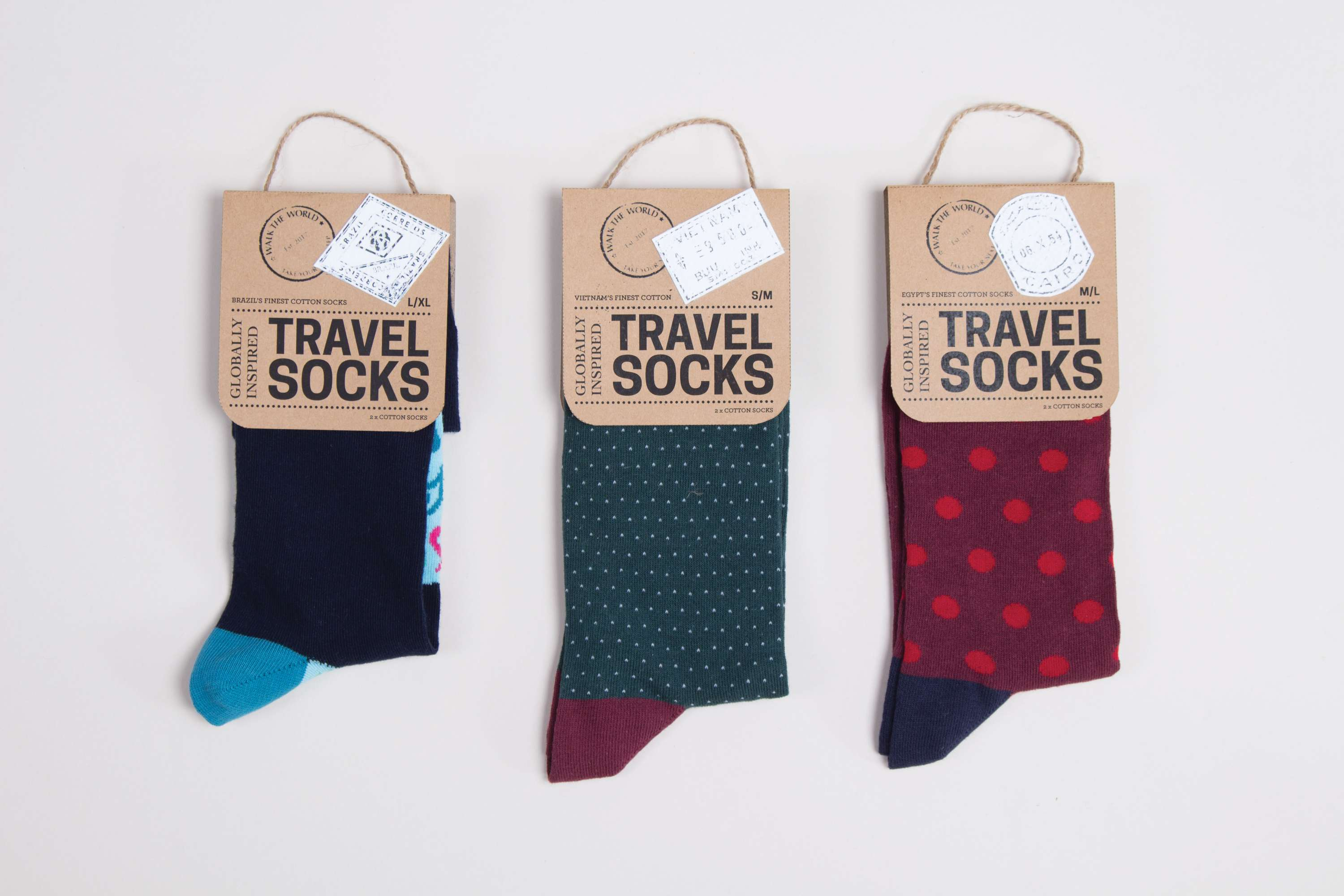 packaging for the walk the world socks company the dots