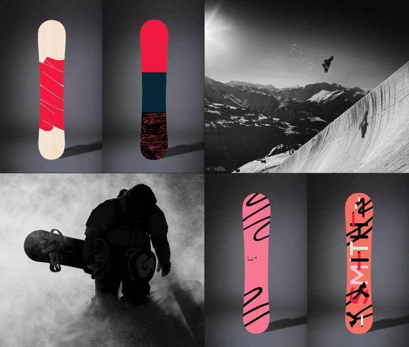 Illustrations for snowboards