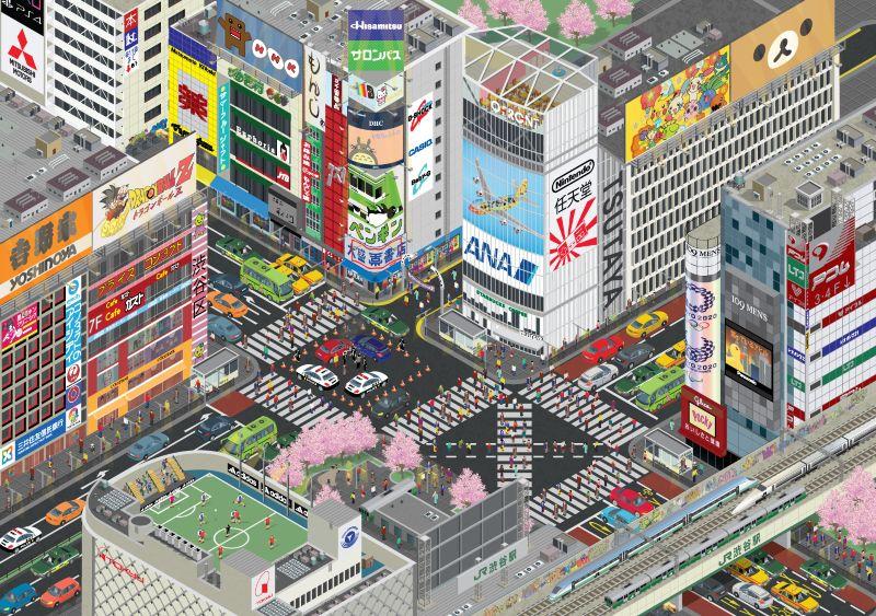 Isometric Illustration of Shibuya Tokyo Japan