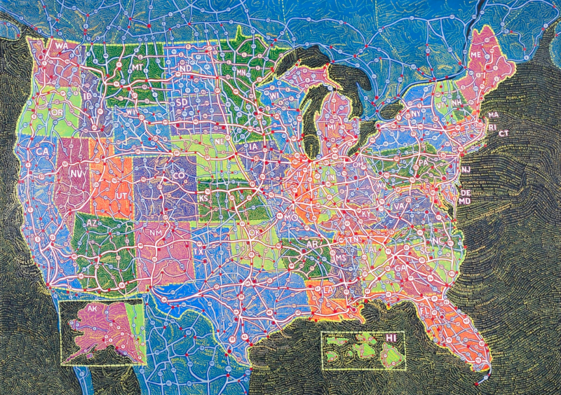 Review of Paula Scher's Cartographic Paintings for Disegno Daily