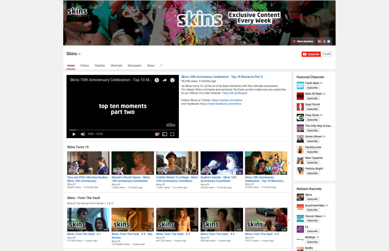 Skins YouTube Channel